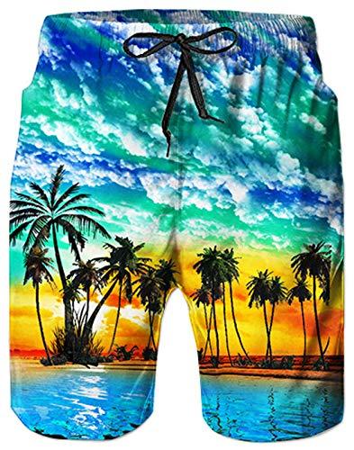AIDEAONE Herren Strand Shorts Badehose Hawaii Blau Mode Badeshorts