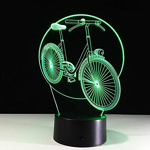 LIkaxyd LED 3D-nachtlampje, optische illusielamp 7 kleuren veranderen, Touch USB & batterij-aangedreven speelgoed decoratieve lamp, beste cadeau voor kinderen-Mode fiets