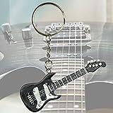 BANBERRY DESIGNS Electric Guitar Replica Keychain - Music Teacher Gifts - Musician Stocking Stuffer - Black 2-1/2 Inch
