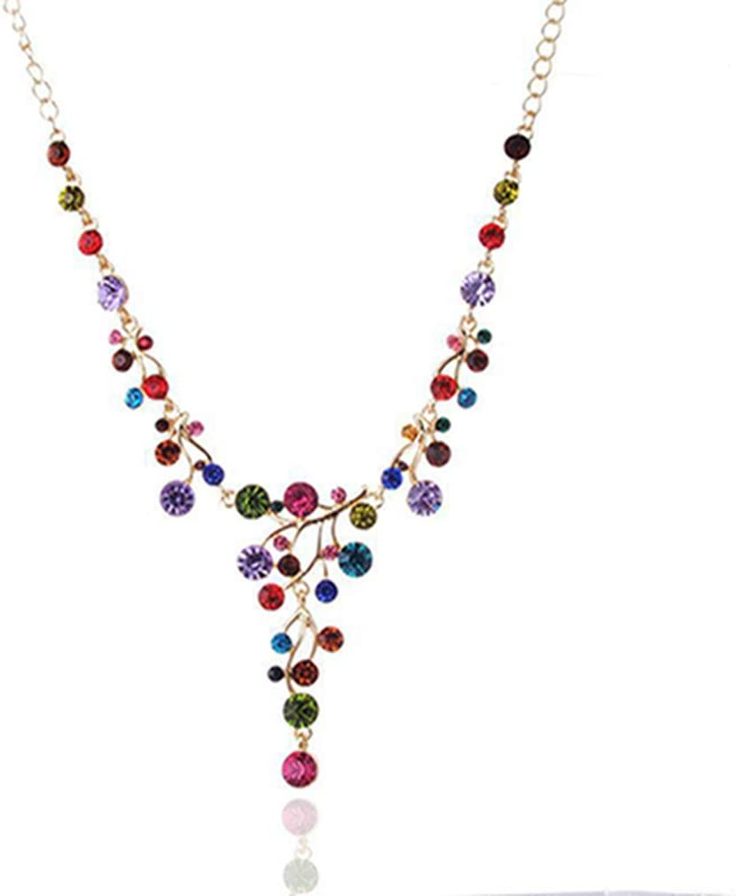 Yunzee Crystal Rhinestones Multicolor Necklace Y Necklace Jewelry for Bridal Wedding Prom