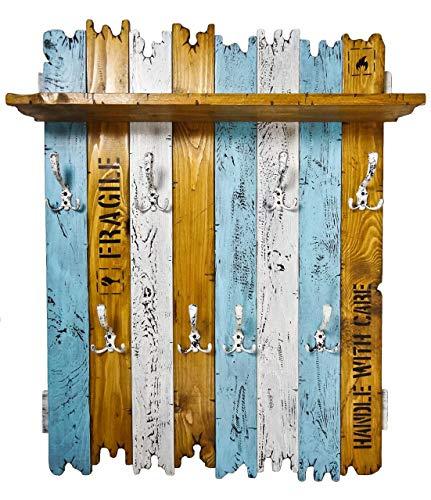 SHaBBy CHic ViNTaGe Holz Garderobe mit 8x3 Metallhaken blau braun weiß (HXBXT: 115x8ox15 cm) aus Echtholz/Massivholz im used look rustikal Landhaus Stil (alternativ: Gaderobe, Gardrobe)
