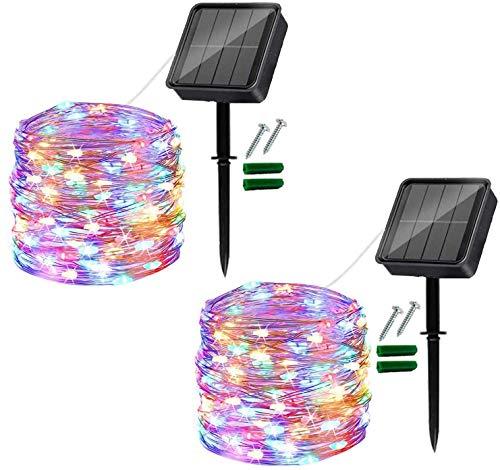 [2 unidades] Cadena de luces solares para exteriores120 luces LED para exteriores, resistente al agua iluminación de Navidad, cadena de luz para balcón, jardín, árboles, terraza (Vistoso)