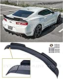 Replacement For 2016-Present Chevrolet Camaro ALL Models | 1LE Extended V2 Style ABS Plastic PRIMER BLACK Add On Rear Trunk Lid Wing With Aluminum PAINTED GLOSSY BLACK WickerBill Spoiler