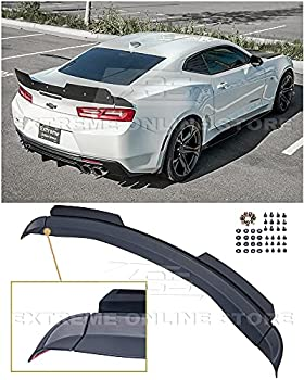 Replacement For 2016-Present Chevrolet Camaro ALL Models   1LE Extended V2 Style ABS Plastic PRIMER BLACK Add On Rear Trunk Lid Wing With Aluminum PAINTED GLOSSY BLACK WickerBill Spoiler