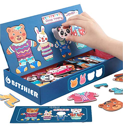 BST SHIER Toddler Magnetic Puzzles for Age 3 4 5 6, Wooden Animal Dress Up Matching Games Jigsaw Puzzle Toys for Kids Boys Girls, Fridge Magnets for Toddlers, Montessori Toys for 3 4 5 6 Year Old