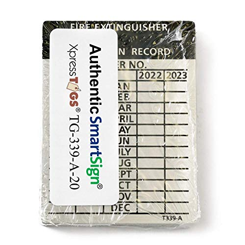 "SmartSign ""Fire Extinguisher Inspection Record"" 4-Year Maintenance Tags 