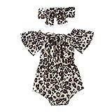 L&ieserram Vestido completo de 2 piezas de pelele con puntos de leopardo para recién nacido de manga corta y diadema primaveral, verano, otoño LEOPARDO 0-6 Meses