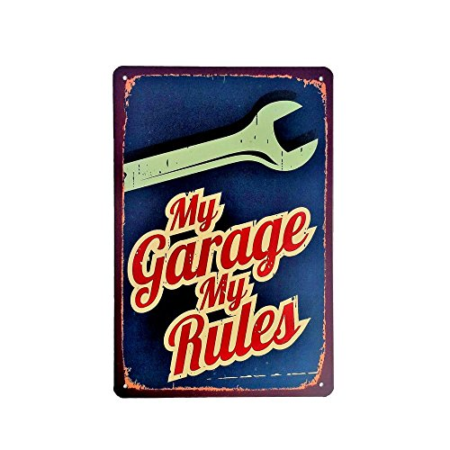 DiiliHiiri Cartel de Chapa Vintage Decoración, Letrero A4 Estilo Antiguo de metálico Retro-My Garage my Rules