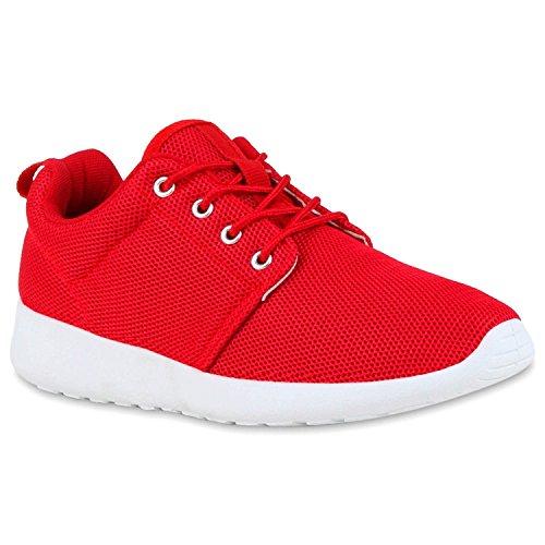 stiefelparadies Damen Sportschuhe Trendfarben Runners Sneakers Laufschuhe 119114 Rot Weiss 42 Flandell