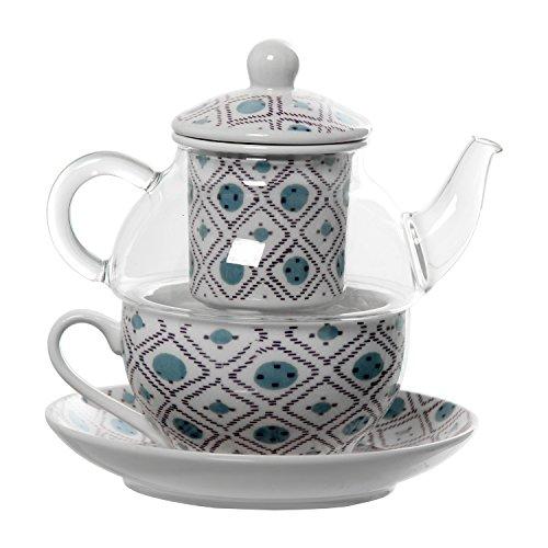 DONREGALOWEB theepot van glas met kop en schoteltje van keramiek in transparant, wit en blauw