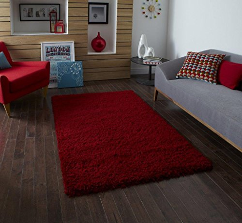 Think Rugs Vista 2236 Tapis Shaggy Rouge