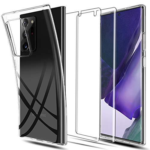 LK Hülle für Samsung Galaxy Note 20 Ultra,[rutschfest] Schlanker Weiche Flex Silikon TPU Schutzhülle Hülle Cover mit Bildschirmschutzfolie[2 Stück] für Samsung Galaxy Note 20 Ultra - Transparent