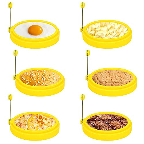 BestMal 6pcs Silicone Egg Rings 4 Inch Egg Ring for Frying Eggs Egg Cook Mcmuffin Ring Non Stick Fried Egg Ring Mold Pancake Ring