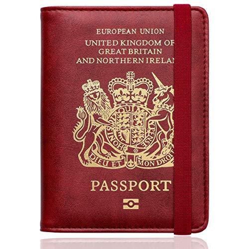 WALNEW RFID Blocking Passport Holder Wallet Cover Case (C-Red)