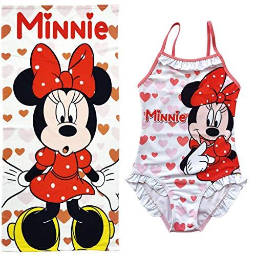Bañador Minnie Mouse para niñas + Toalla Disney Minnie Mouse para Baño Playa o Piscina...