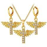 CLEARNICE Crystal Angle Cross Set Colgante Collar Pendiente Trendy Rhinestone Gold Color Wing Women Set para Regalo