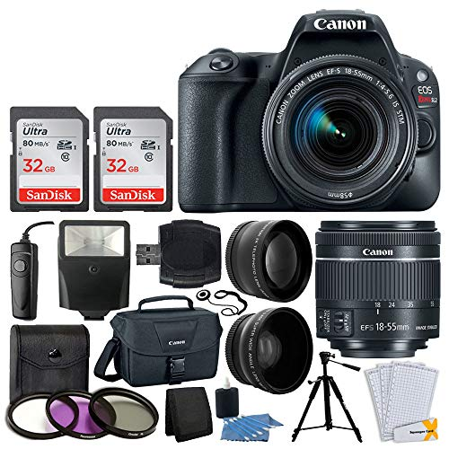 Canon EOS Rebel SL2 Digital SLR Camera + EF-S 18-55mm f/4-5.6 is STM Lens + 64GB Memory Card + Wide Angle & Telephoto Lens + RS-60 Remote + Filter Kit + Canon 100ES Case - Valued Accessory Bundle