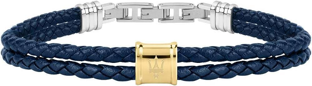 Maserati bracciale da uomo, collezione maserati j, in acciaio, poliuretano e cuoio JM219AQH25