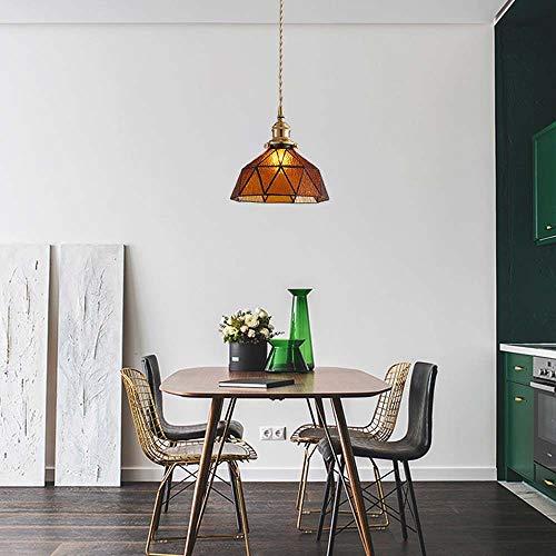 SYyshyin Araña de cobre de ancho nórdico hecha a mano, estilo retro, entrada de restaurante, pasillo, dormitorio, mesita de noche, cama y desayuno, lámpara ámbar de 20 cm de diámetro x 14 cm de alto