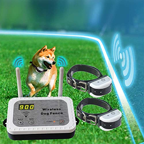JUSTPET Wireless Dog Fence Pet Containment System, Safe No Randomly Correction Dog Wireless Fence, Adjustable Control Range 10 to 900 Feet, Waterproof Rechargeable Dog Collar