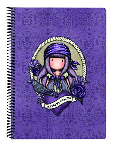 SANTORO Cuaderno 80 Hojas A5 de Gorjuss Sea Nixie, Tapas Duras, 155x220mm