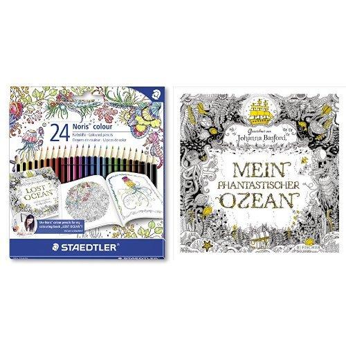 Set - STAEDTLER Buntstifte Noris colour Set 24 Farben und Johanna Basford - Mein phantastischer Ozean
