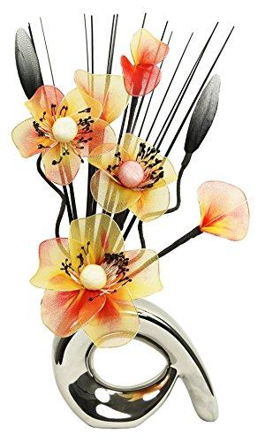 Flourish 792862 Mini Swirl - Par de jarrones con flores artificiales, 32 cm, naranja/marrón