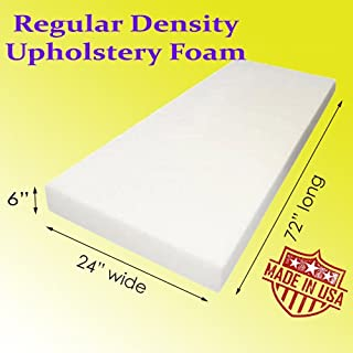 Upholstery Cushion Made in USA Firm GoTo Foam 6 Height x 30 Width x 72 Length 44ILD
