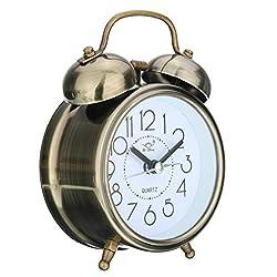 SoundsBeauty Classic Silent Double Bells Quartz Movement Bedside Table Retro Mini Alarm Clock - Bronze