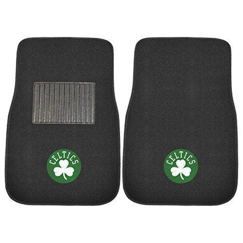 FANMATS 17611 NBA Boston Celtics 2-Piece Embroidered Car Mat, 17' x 25.5'