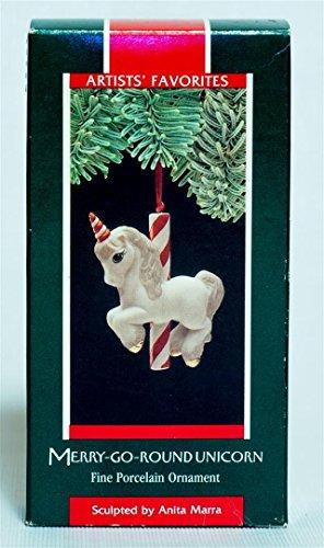 Hallmark 1989 Edition Merry Go Round Unicorn Christmas Tree Ceramic Figurine Ornament - Rare Vintage Holiday Collectible Decoration