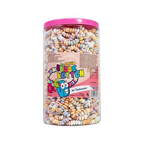 Cool 100 süsse Ketten mit Traubenzucker | Dextrose Armbänder | Mädchen Geburtstag | n der wiederverschließbaren Dose, 1er Pack (1 x 1700 g)