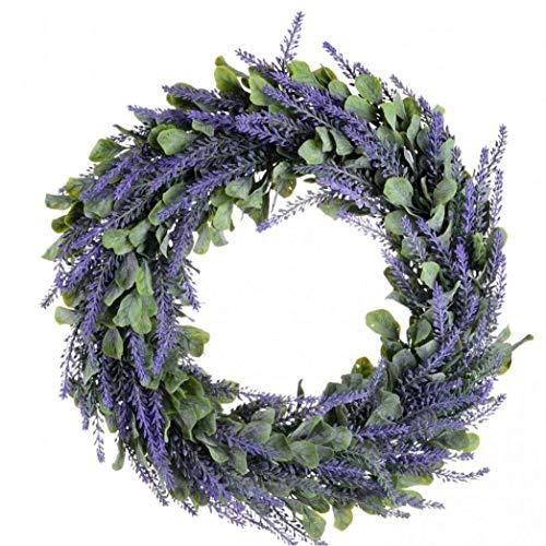 Bongles Home Decor Künstliche Kranz Türkranz Lavendel Frühling Kranz Runde Kranz Für Die Haustür