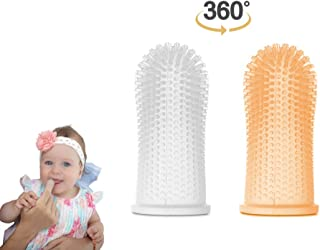 360º Finger Toothbrush - Ergonomic Design -Full Surround Bristles for Easy Cleaning, Massaging, and Soothing Gums. Set of 2, Clear and Orange.