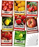 🍅 8 VARIETY PACK - 8 Varieties Pack, San Marzano, Roma VF, Large Cherry, Ace 55 VF, Yellow Pear, Tomatillo, Brandywine Pink, Golden Jubilee 🍅 FREE BONUS - 8 Free plant markers to help you keep track of what tomatoes you planted where. 🍅 WATER RESISTA...