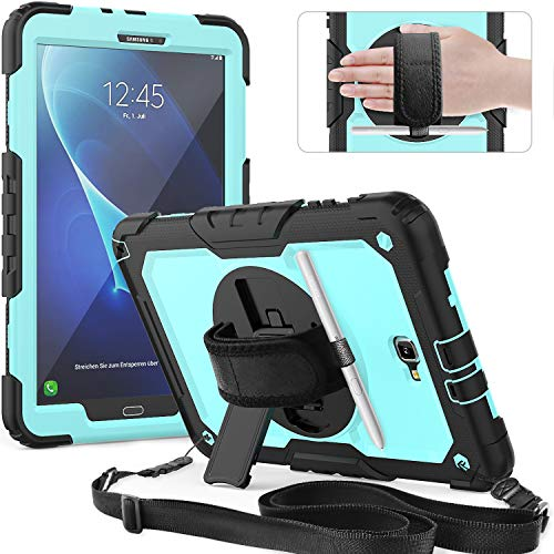 Timecity Galaxy Tab A6 Case (SM-T580/T585/T587 Case) with Screen Protector Pencil Holder Rotating Kickstand Hand/Shoulder Strap.Rugged Durable Tablet Cover for Tab A 10.1 inch-Black+Light Blue