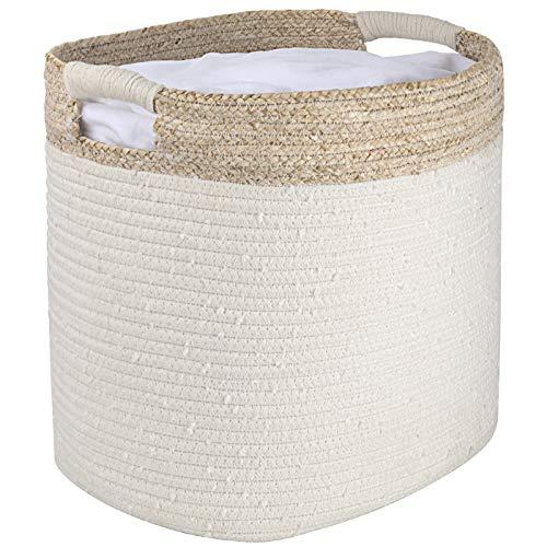 La Jolíe Muse Cesta ropa sucia de algodón, cesta almacenaje de cuerda de algodón con piel de maíz, cesta ropa sucia bebe, 35.5 x 33 x 40.5 cm, Blanco, estampado beige