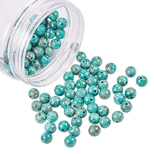 NBEADS 120Pz 8mm Perle Turchesi Naturali Africane, Gioielli Rotondi Perline di Pietra per Braccialetti per Collana Fai da Te, Foro: 1 mm