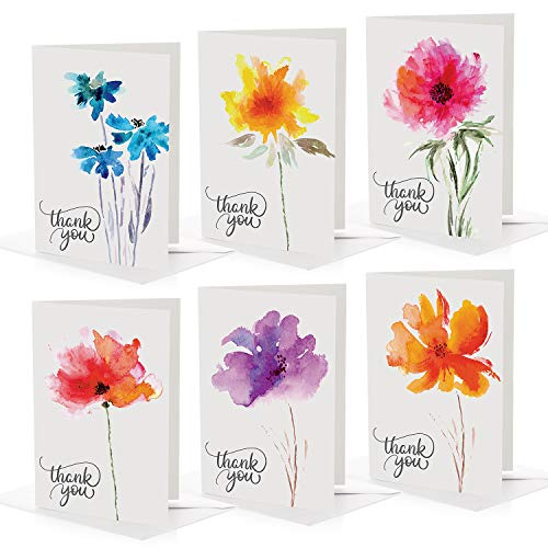 Bilinny Bulk Pack of 100 Thank You Cards with Envelopes in BEAUTIFUL BOX, 6 Unique Floral Designs, Matte Gratitude Notes for professional Business, Graduation, Engagement, Wedding, Bridal, Baby Shower