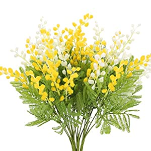 HO2NLE 4Pcs Artificial Flowers Babys Breath Bundles Outdoor Fake Flowers Plastic Greenery Shrubs for Home Kitchen Wedding Office Garden Indoor Spring Decoration White Yellow