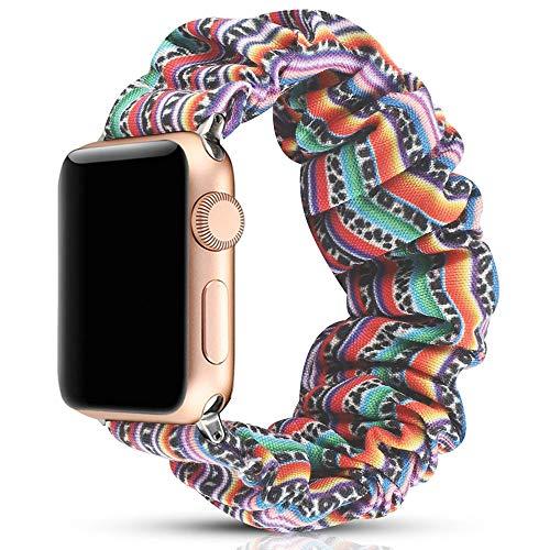 Miimall Scrunchie Correa Compatible con Apple Watch Series 5/4/3/2/1 de 38 mm / 40 mm, Suave Tela Estampada Correa Elástica de Repuesto para Apple Watch 38 mm / 40 mm