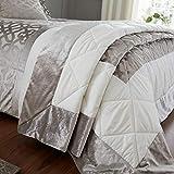 Catherine Lansfield Lattice Cut Velvet Copriletto, Naturale, Bedspread-220x230cm
