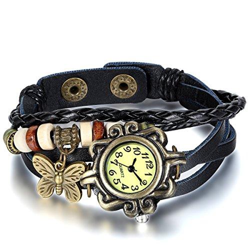JewelryWe Damen Armbanduhr, Retro Vintage Analog Quarz Uhr mit Schmetterling Beads Kugeln Charm Leder Armkette Armband, Schwarz