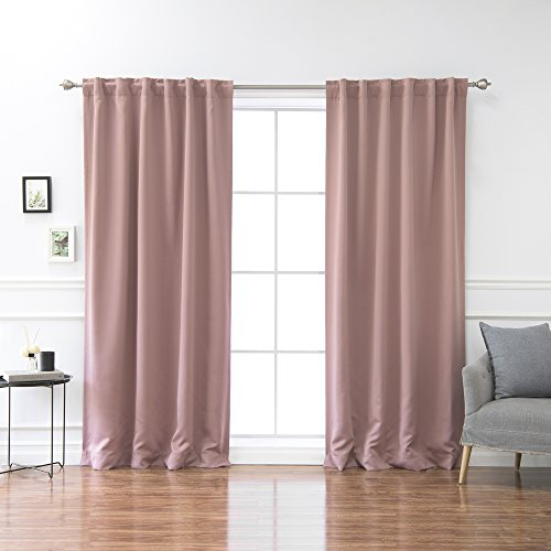 """Best Home Fashion Premium Blackout Curtain Panels - Solid Thermal Insulated Window Treatment Blackout Drapes for Bedroom - Back Tab & Rod Pocket – Mauve - 52"""" W x 84"""" L - (Set of 2 Panels)"""