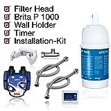 BRITA - Kit d'installation pour filtre à eau inférieur Cartouche filtrante BRITA P1000, tête filtrante, indicateur de changement de cartouche, tuyaux, adaptateur de valve d'angle.