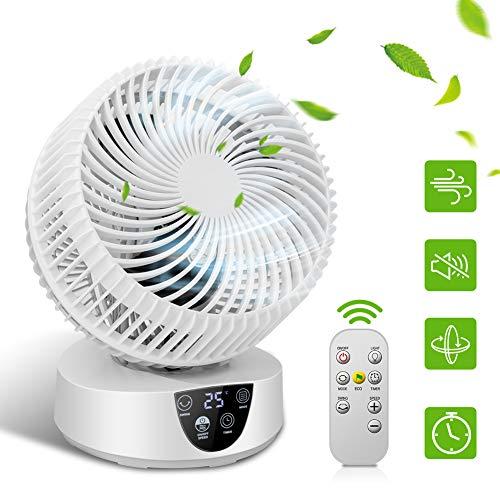 Ventilator Sehr Leise Linkax Turbo Ventilator Klein 3D Tischventilator Luftumwälzer ECO-Mode 3 Geschwindigkeit 4 Modi 9H Timer mit Fernbedienung Lüfter Leise Luftzirkulator Raumventilator