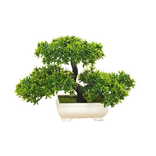 ZYCX123 Las Plantas Artificiales Bonsai de simulación de árboles para el hogar y la Oficina Interior Plantas Adornos Decorativos Mini Emular Bienvenida Pino (Verde)