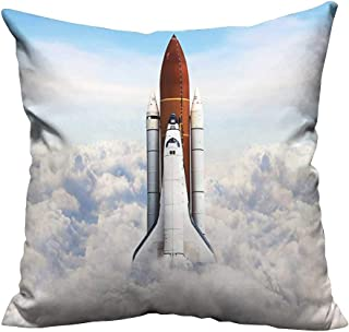 alsohome Pillowcase with Zipper Rocket Taking Off on Mission Spaceman Planet Gazing Endeavour Power Fire Print Cushion Cotton and Linen21.5x21.5 inch(Double-Sided Printing)