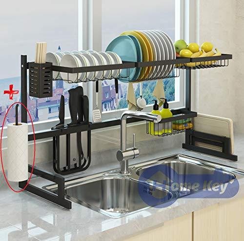 "Over Sink(33.7"") Dish Drying Rack, Kitchen Drainer Counter Organizer Supplies Shelf Storage Stainless Steel Display Utensil Holder Space Saver.(Sink size ≤ 33.7 inch, Black)"
