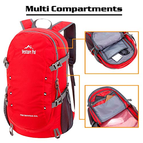 Venture Pal 40L Lightweight Packable Travel Hiking Backpack Daypack-Red